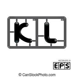 alphabet, vecteur, model-kit, lettre