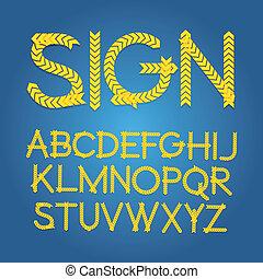 alphabet, vecteur, w1-8, chevron, signe