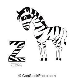 alphabet, vecteur, zebra, lettre, z, enfants
