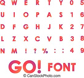 Alphabet Vector Font in circles. Type letters and numbers