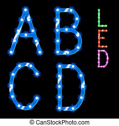 alphabet - vector set of led illuminated letters. ...