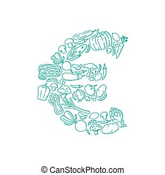 Alphabet Vegetable pattern set EUR (European Euro) symbol illustration kids hand drawing concept design green color, isolated on white background, vector eps 10