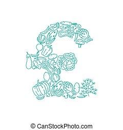 Alphabet Vegetable pattern set GBP (Pound Sterling) symbol illustration kids hand drawing concept design green color, isolated on white background, vector eps 10