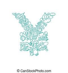 Alphabet Vegetable pattern set JPY (Japanese Yen) symbol illustration kids hand drawing concept design green color, isolated on white background, vector eps 10