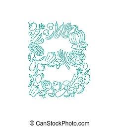 Alphabet Vegetable pattern set letter B illustration kids hand drawing concept design green color, isolated on white background, vector eps 10
