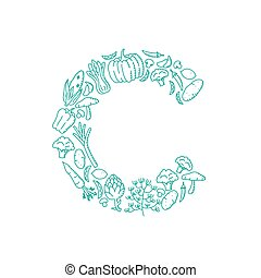 Alphabet Vegetable pattern set letter C illustration kids hand drawing concept design green color, isolated on white background, vector eps 10
