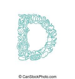 Alphabet Vegetable pattern set letter D illustration kids hand drawing concept design green color, isolated on white background, vector eps 10