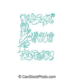 Alphabet Vegetable pattern set letter E illustration kids hand drawing concept design green color, isolated on white background, vector eps 10