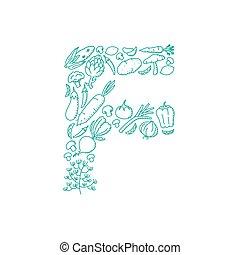 Alphabet Vegetable pattern set letter F illustration kids hand drawing concept design green color, isolated on white background, vector eps 10