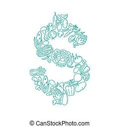 Alphabet Vegetable pattern set USD (United States Dollars) symbol illustration kids hand drawing concept design green color, isolated on white background, vector eps 10