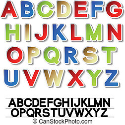 alphabet, vektor, aufkleber