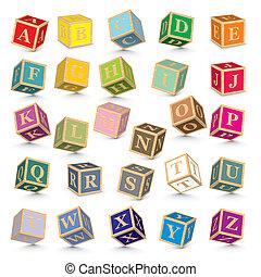 alphabet, vektor, blöcke