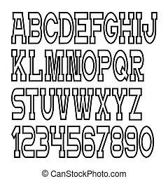 alphabet, vektor, briefe, zahlen