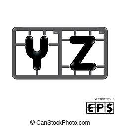 alphabet, vektor, model-kit, brief
