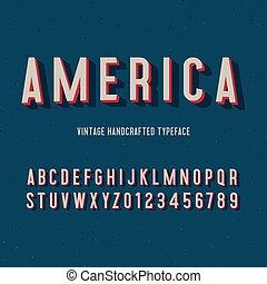 alphabet., vendimia, 3d, ilustración, vector, américa, ...