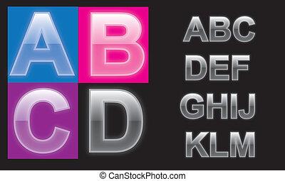 alphabet, verre, lettres