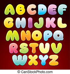 alphabet., versuikeren, veelkleurig, vector, brieven, glanzend
