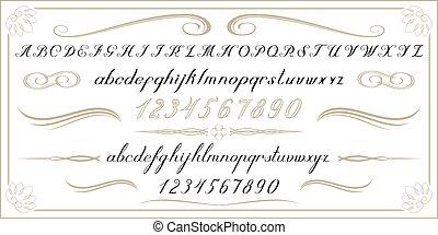 alphabet, vieux, nombres, lettres, manuscrit