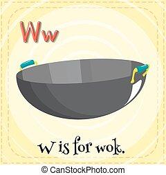 Alphabet W is for wok illustration