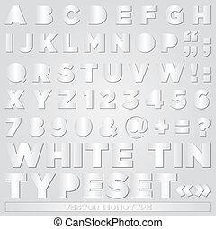 alphabet, weißes zinn