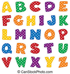 Original alphabet design, red, blue, green, gold, orange and purple with white polka dots. For crafts, scrapbooks, back to school, do it yourself projects. EPS8 compatible.
