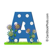 """Буква A, в алфавитном наборе """"Wildflower Meadow"""", синяя с белыми точками в горошек. Основание буквы украшено волнистой травой и 3D цветами."""