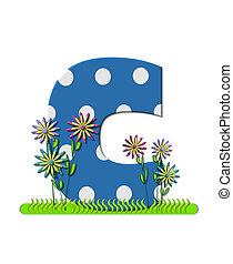 """Буква C, в наборе алфавита """"Wildflower Meadow"""", синяя с белыми горошинами.    Основание буквы украшено волнистой травой и 3D цветами."""