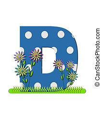 """Буква D, в наборе алфавита """"Луг с полевыми цветами"""", синяя с белыми точками в горошек. Основание буквы украшено волнистой травой и 3D цветами."""