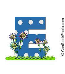 """Буква E, в алфавитном наборе """"Луг полевых цветов"""", синяя с белыми точками горошка. Основание буквы украшено волнистой травой и 3D цветами."""