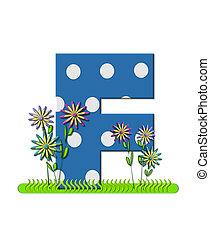 """Буква F, в алфавитном наборе """"Wildflower Meadow"""", синяя с белыми точками в горошек. Основание буквы украшено волнистой травой и 3D цветами."""