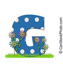 """Буква G, в алфавитном наборе """"Полевой цветок Луг"""", имеет синий цвет с белыми точками горошка. Основание буквы украшено волнистой травой и 3D цветами."""