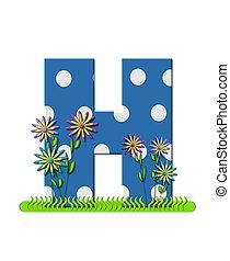 """Буква H, в наборе алфавита """"Wildflower Meadow"""", синяя с белыми точками в горошек. Основание буквы украшено волнистой травой и 3D цветами."""