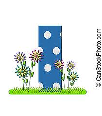 """Буква I, в алфавитном наборе """"wildflower Meadow"""", синяя с белыми точками в горошек. Основание буквы украшено волнистой травой и 3D цветами."""