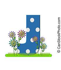 """Буква J, в алфавитном наборе """"wildflower Meadow"""", синяя с белыми точками в горошек. Основание буквы украшено волнистой травой и 3D цветами."""