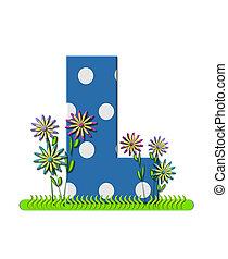 """Буква L, в наборе алфавита """"Луг полевых цветов"""", синяя с белыми точками. Основание буквы украшено волнистой травой и 3D цветами."""