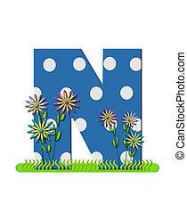 """Буква N, в алфавитном наборе """"wildflower Meadow"""", синяя с белыми точками в горошек. Основание буквы украшено волнистой травой и 3D цветами."""