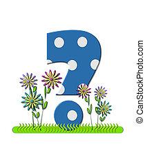 "Question mark , in the alphabet set ""wildflower Meadow"", is blue with white polka dots. Основание буквы украшено волнистой травой и 3D цветами."