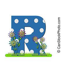"""Буква R, в алфавитном наборе """"wildflower Meadow"""", синяя с белыми точками в горошек. Основание буквы украшено волнистой травой и 3D цветами."""