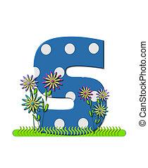 """Буква S, в алфавитном наборе """"wildflower Meadow"""", синяя с белыми точками в горошек. Основание буквы украшено волнистой травой и 3D цветами."""