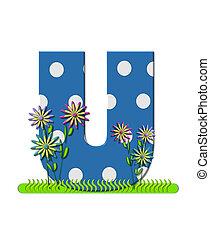 """Буква U, в алфавитном наборе """"Wildflower Meadow"""", синего цвета с белыми точками горошка. Основание буквы украшено волнистой травой и 3D цветами."""