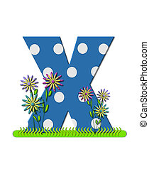 """Буква X, в алфавитном наборе """"Wildflower Meadow"""", синяя с белыми точками в горошек. Основание буквы украшено волнистой травой и 3D цветами."""