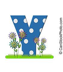 """Буква Y, в наборе алфавита """"wildflower Meadow"""", синяя с белыми точками. Основание буквы украшено волнистой травой и 3D цветами."""