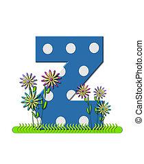 """Буква Z, в наборе алфавита """"Луговые цветы"""", синяя с белыми точками. Основание буквы украшено волнистой травой и 3D цветами."""