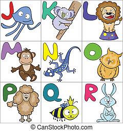 Alphabet with cartoon animals 2