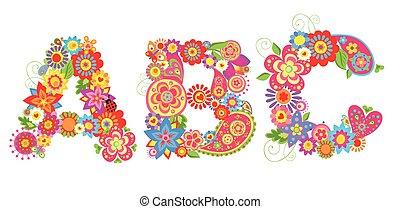 Alphabet with flowers. ABC