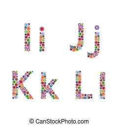Alphabet with flowery letters I, J, K, L