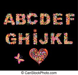 Alphabet with funny colorful flowers. Part
