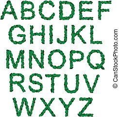 Alphabet with green holy leaves for christmas - Eco-friendly...