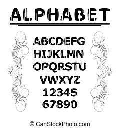 Alphabet with lines