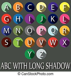 Alphabet with long shadows